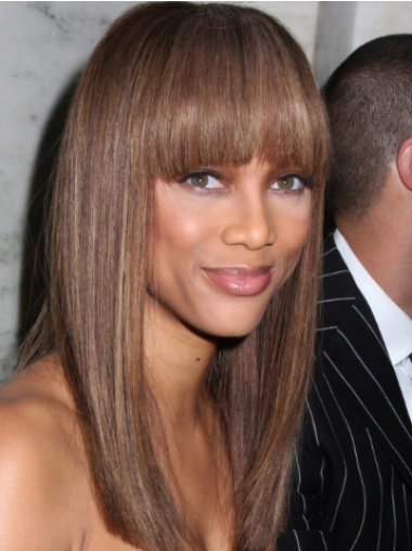 Tyra Banks Distinct Ultra-long Straight Glueless Lace Front Human Hair Wig 18 inches with Bangs