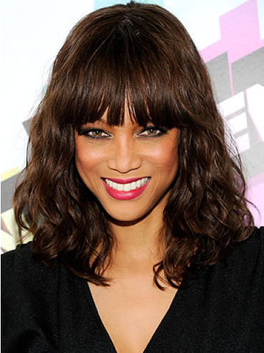 Tyra Banks Mid-length Wavy Cut Human Hair Wig 16 Inches with Bangs