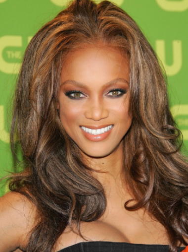 Tyra Banks Flowery Enthusiastic Long Wavy Lace Front Human Hair Wig 18 Inches