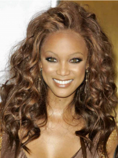 Tyra Banks Long Tight-curls Lace Human Hair Wig 18 Inches