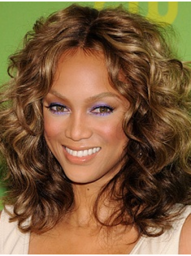 Tyra Banks Contemporary Girlish Shoulder-length Curly Shag Glueless Lace Front Human Hair Wig 14 Inches