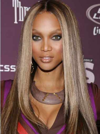 Tyra Banks Chic and Stylish Long Straight Lace Front Human Hair Wig 22 Inches