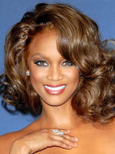 Tyra Banks Beautiful Classic Mid-length Wavy Glueless Lace Front Human Hair Wig 12 inches