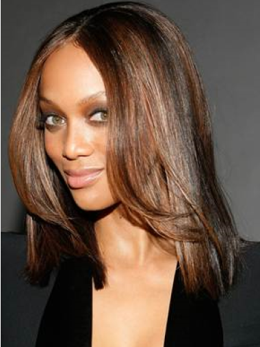 Tyra Banks Life-like Off-the-face Shoulder-hitting Straight Lace Human Hair wig 14 Inches