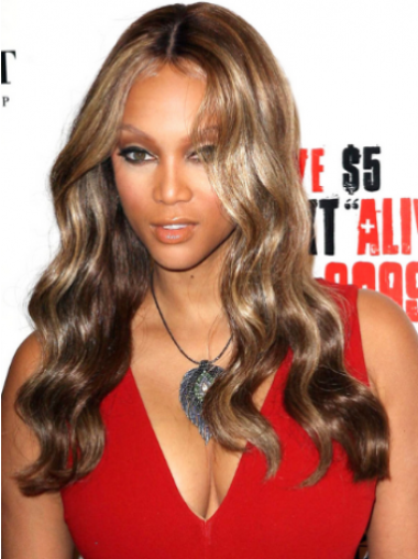 Tyra Banks Well-trimmed Long Wavy Lace Human Hair Wig 20 Inches