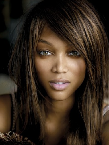 Tyra Banks Stunning Long Straight Glueless Lace Human Hair Wig