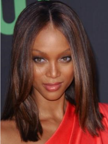 Tyra Banks Natural and Comfortable Mid-length Straight Lace Human Hair Wig 14 Inches