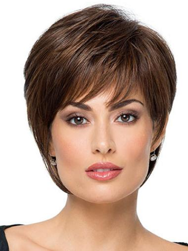 short haircuts wigs 8 quot brown with bangs wigs synthetic wigs 5233 | UW22019 1