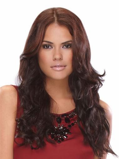 Preferential Auburn Wavy Indian Remy Hair Long Wigs