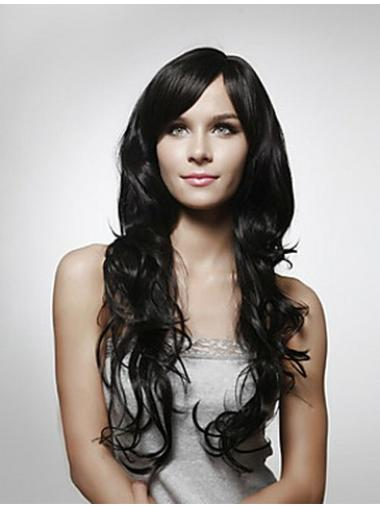 Beautiful Black Curly Remy Human Hair Long Wigs