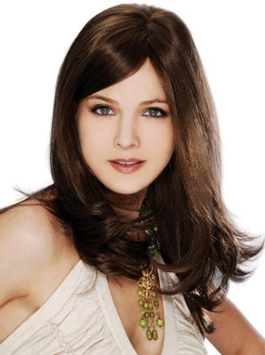 Brown Straight Remy Human Hair Tempting Long Wigs