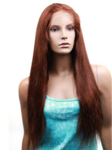 Fashionable Monofilament Straight Long Human Hair Lace Front Wigs