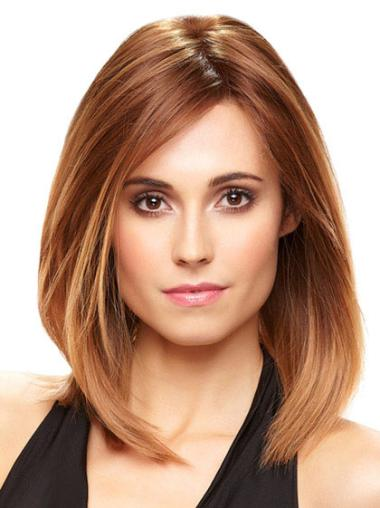 Stylish Monofilament Straight Shoulder Length Wigs For Cancer