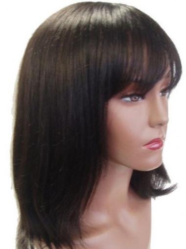 Brown Online Straight Remy Human Hair Medium Wigs