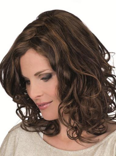 Monofilament Curly Shoulder Length Petite Wigs