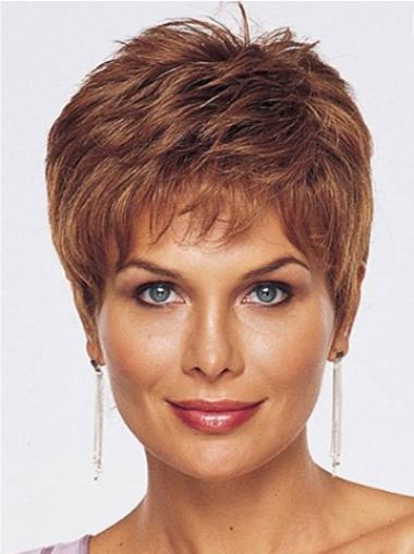 Straight Cropped Capless Wigs For Cancer