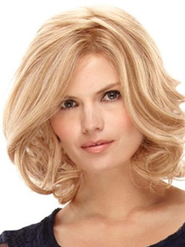 Unique Blonde Curly Shoulder Length Remy Human Lace Wigs