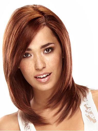 Exquisite Auburn Lace Front Shoulder Length Remy Human Lace Wigs