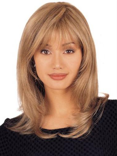 Sassy Blonde Lace Front Shoulder Length Lace Wigs For Cancer