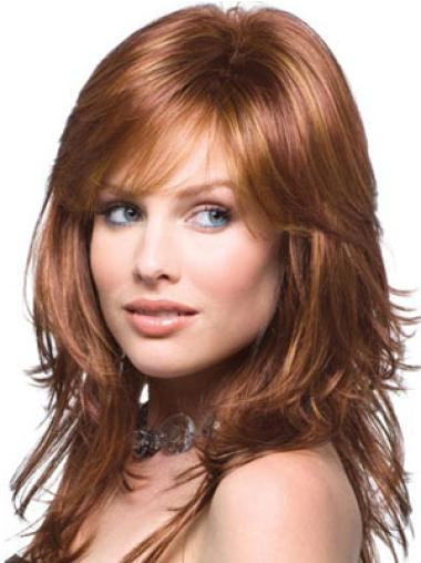 Hairstyles Auburn Wavy Long Human Hair Wigs