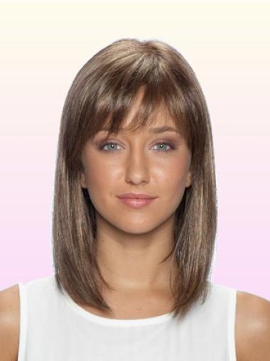 Pleasing Lace Front Straight Shoulder Length Remy Human Lace Wigs