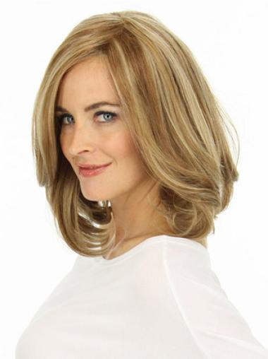 Comfortable Blonde Wavy Shoulder Length Lace Front Wigs