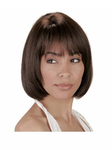 Ideal Brown Straight Chin Length Human Hair Wigs