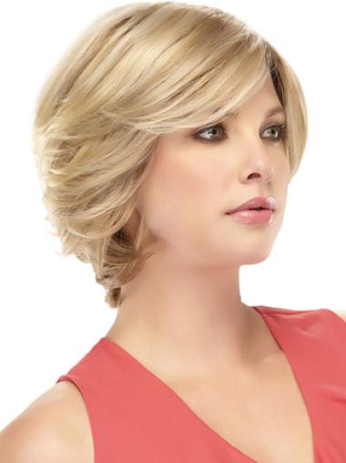 Stylish Blonde Wavy Short Remy Human Lace Wigs