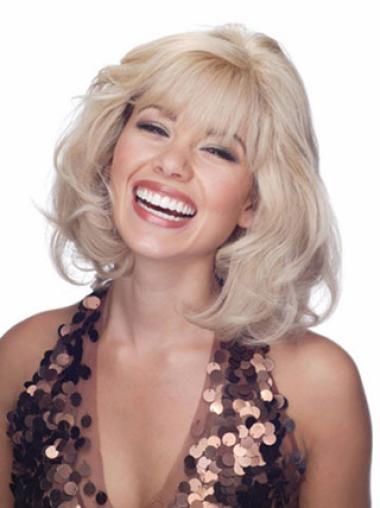New Blonde Wavy Shoulder Length Lace Front Wigs