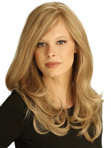 Fashionable Remy Human Hair Blonde Wavy Long Wigs