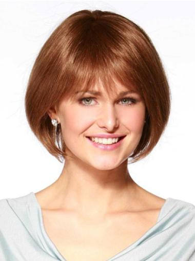 Graceful Monofilament Straight Chin Length Wigs For Cancer