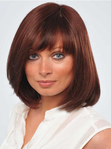 Good Red Monofilament Chin Length Full Lace Wigs For Cancer