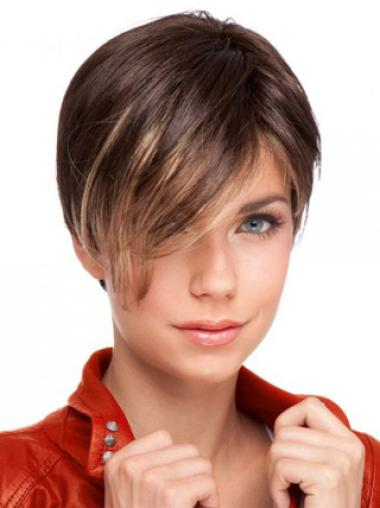 Cheap Auburn Lace Front Cropped Celebrity Wigs