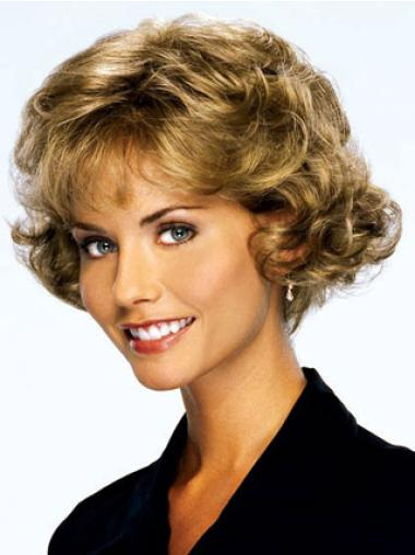 Blonde Curly Remy Human Hair Perfect Wigs For Cancer