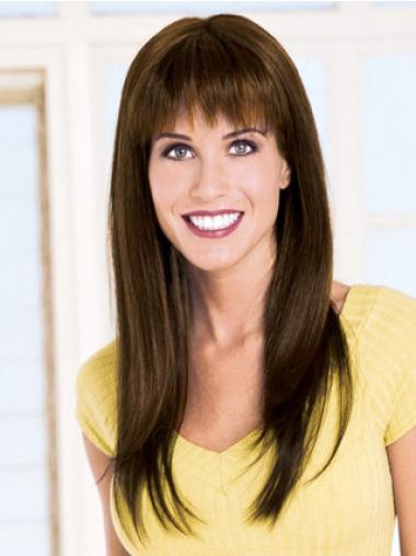 Brown Straight Remy Human Hair Gentle Long Wigs
