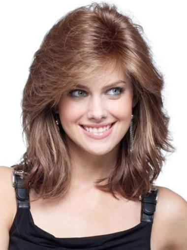 Flexibility Auburn Wavy Shoulder Length Remy Human Lace Wigs