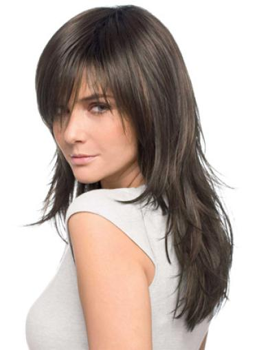 Brown Straight Remy Human Hair Easy Long Wigs