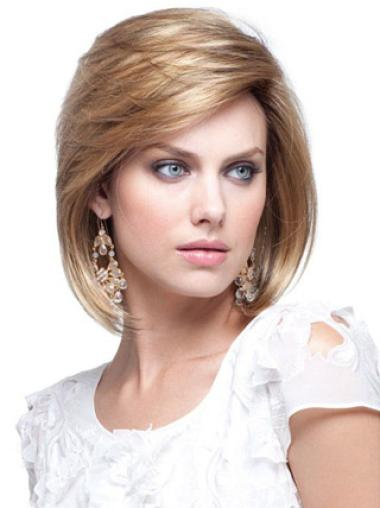 Shining Blonde Straight Chin Length Human Hair Wigs