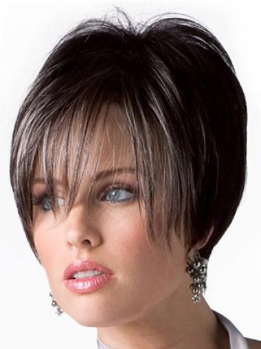 Natural Brown Straight Short Human Hair Wigs