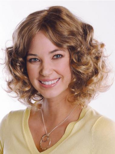 Brown Faddish Curly Remy Human Hair Medium Wigs