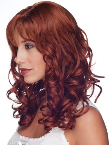 Mature Remy Human Hair Red Curly Long Wigs