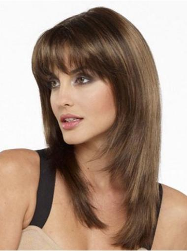 Brown Perfect Straight Remy Human Hair Medium Wigs