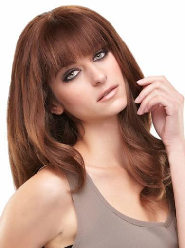 Fashion Auburn Lace Front Long Remy Human Lace Wigs
