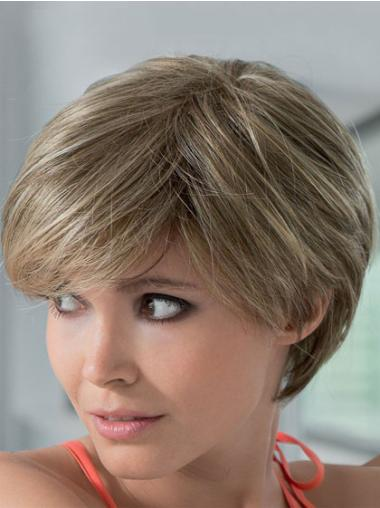 Blonde Pleasing Boycuts Lace Front Wigs For Cancer