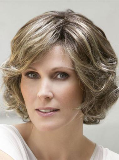 Sleek Brown Wavy Chin Length Wigs For Cancer