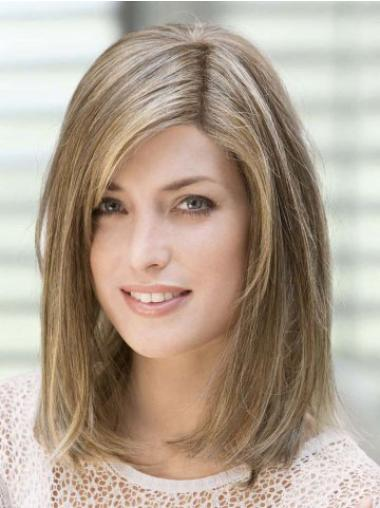 No-fuss Blonde Monofilament Shoulder Length Wigs For Cancer