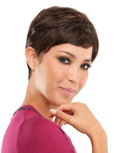 Ideal Brown Straight Cropped Wigs For Cancer