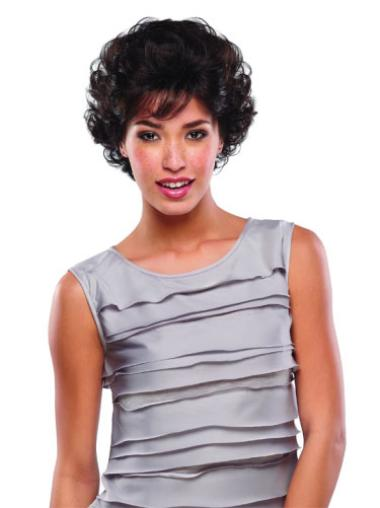 New Brown Curly Short Human Hair Wigs