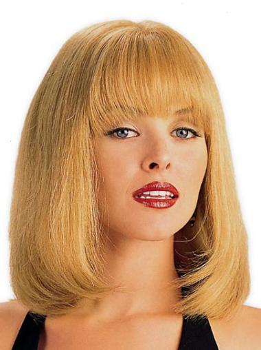 Refined Blonde Monofilament Shoulder Length Lace Wigs