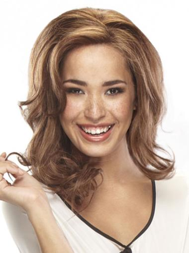 Stylish Monofilament Wavy Shoulder Length Full Lace Wigs